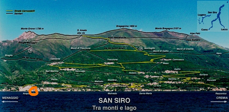 San Siro Community, from Acquaseria (left) to Santa Maria Rezzonico (right), with scattered Mountain Villagios