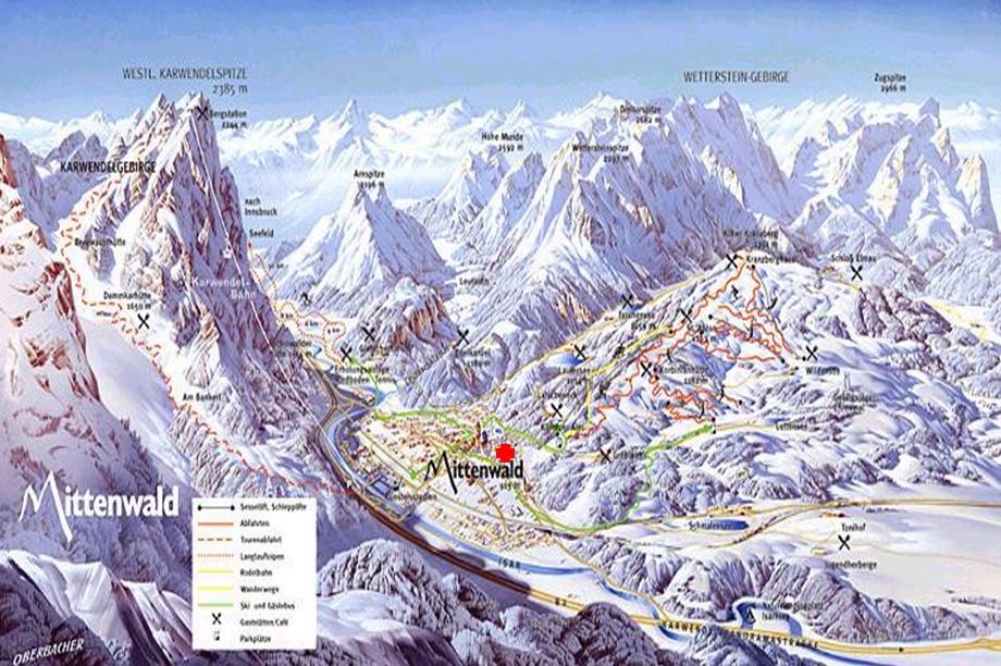 Winter-Scenerie mit Karwendel und Wetterstein