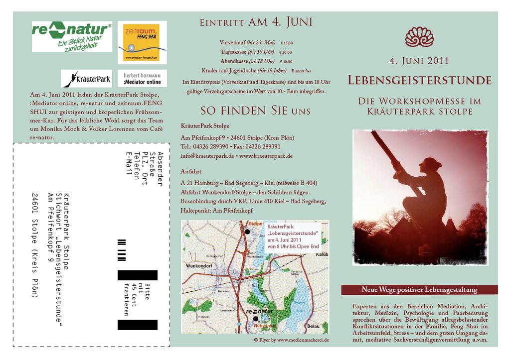 """Vorderseite Flyer """"Lebensgeisterstunde"""" im KräuterPark Stolpe am 4. Juni 2011."""