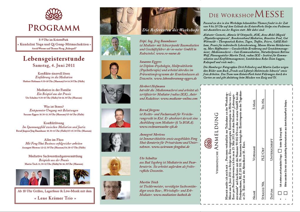 "Rückseite Flyer ""Lebensgeisterstunde"" im KräuterPark Stolpe am 4. Juni 2011."