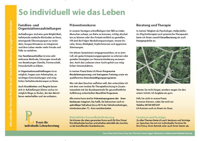"""Rückseite Faltblatt für """"Praxis für individuelle Lebensberatung"""""""