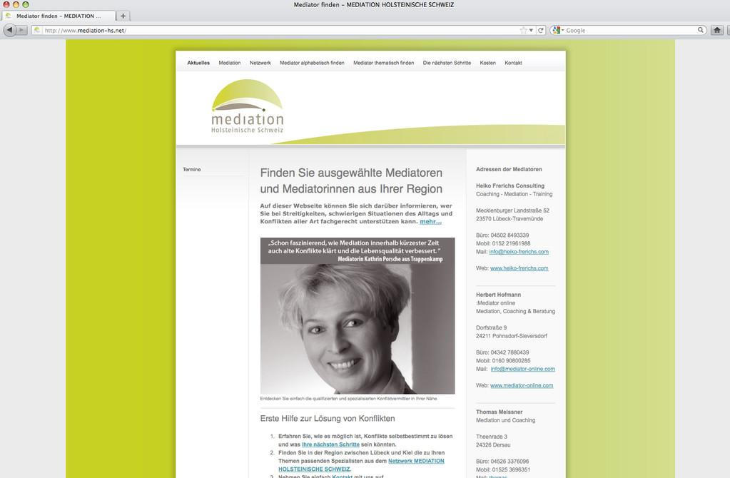 Vereins-Website für Förderverein MEDIATION HOLSTEINISCHE SCHWEIZ e.V.