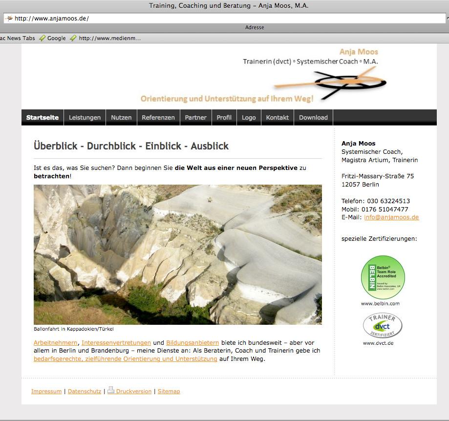 Dienstleister-Website Anja Moos