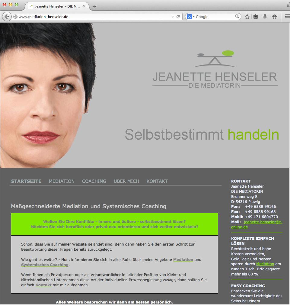 Freiberufler-Website für Jeanette Henseler - REDEN HILFT