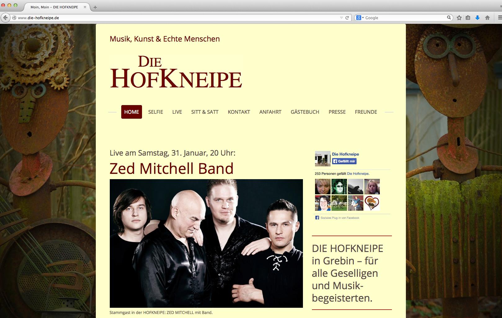 Gastronomie- und Kulturwebsite für DIE HOFKNEIPE