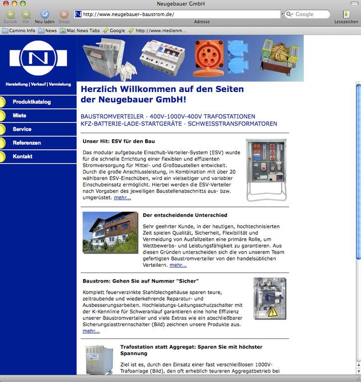 Unternehmens-Webseite Neugebauer GmbH