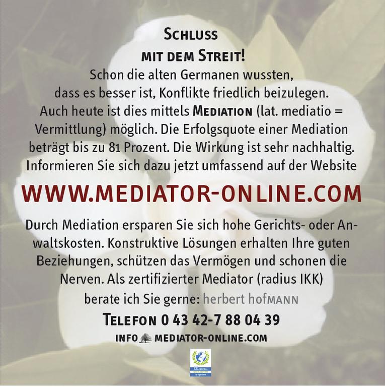 """Rückseite Flyer """"Mediation ist eine runde Sache""""."""