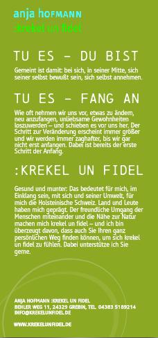 Rückseite Flyer :krekel un fidel