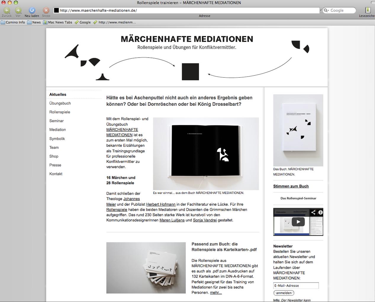 Projekt-Website MÄRCHENHAFTE MEDIATIONEN mit Online-Shop