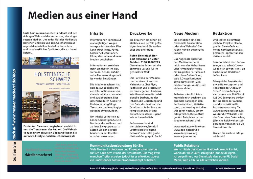 """Rückseite Flyer """"Medien aus einer Hand""""."""