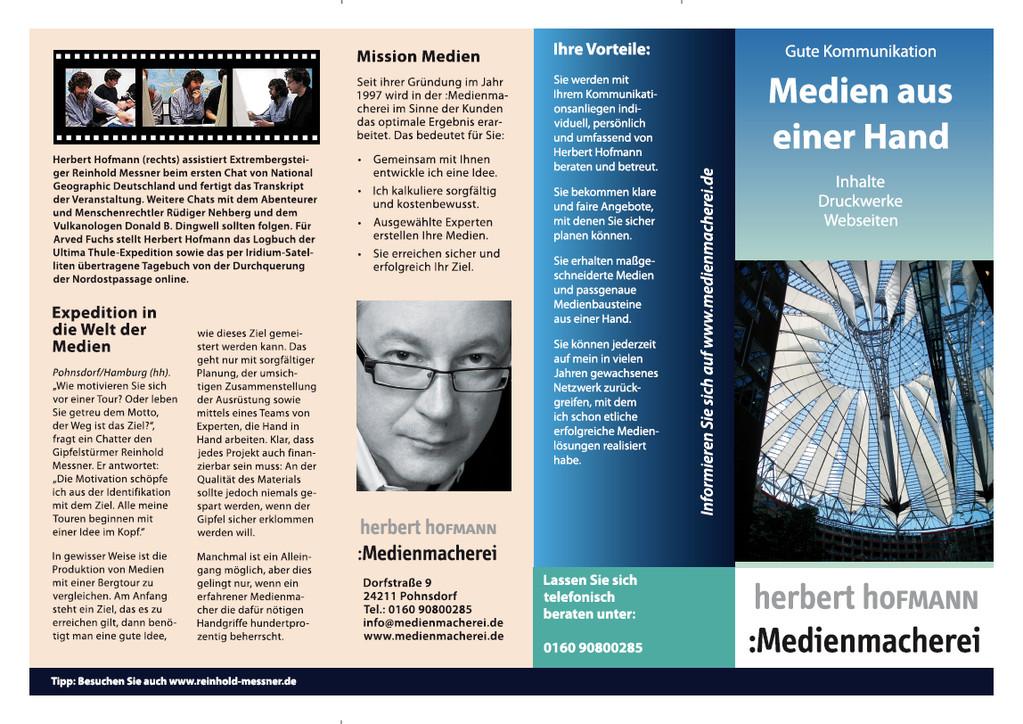 """Vorderseite Flyer """"Medien aus einer Hand""""."""