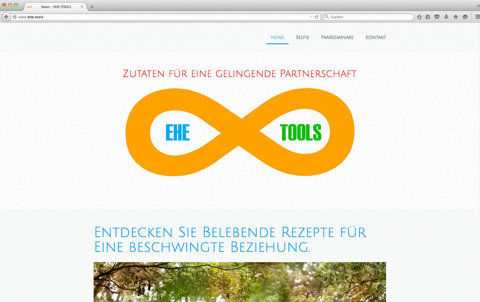 Seminar-Website für EHE.TOOLS mit Online-Shop