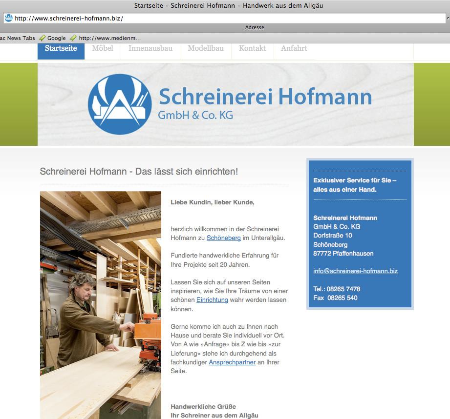 Handwerker-Website Schreinerei Hofmann