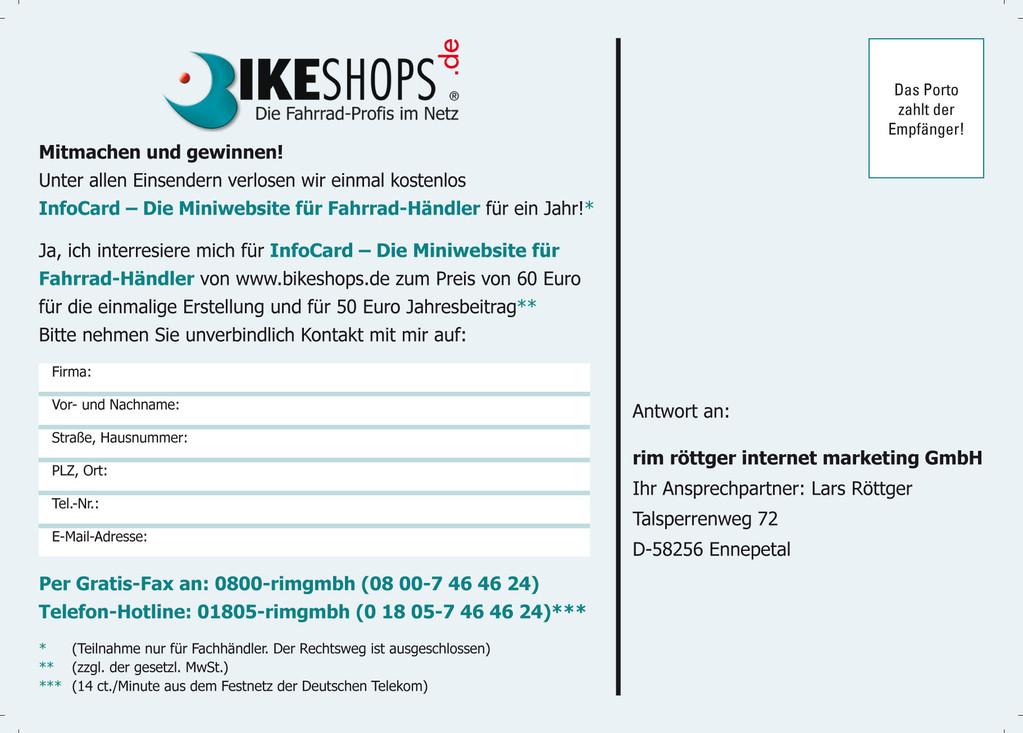 Rückseite Postkarte für Gewinnspiel Bikeshops.de