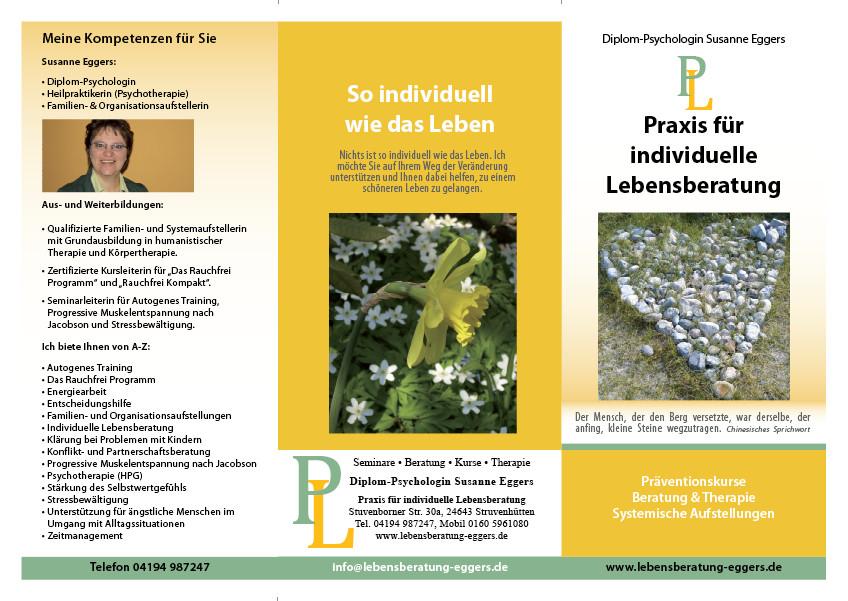 """Vorderseite Faltblatt für """"Praxis für individuelle Lebensberatung"""""""