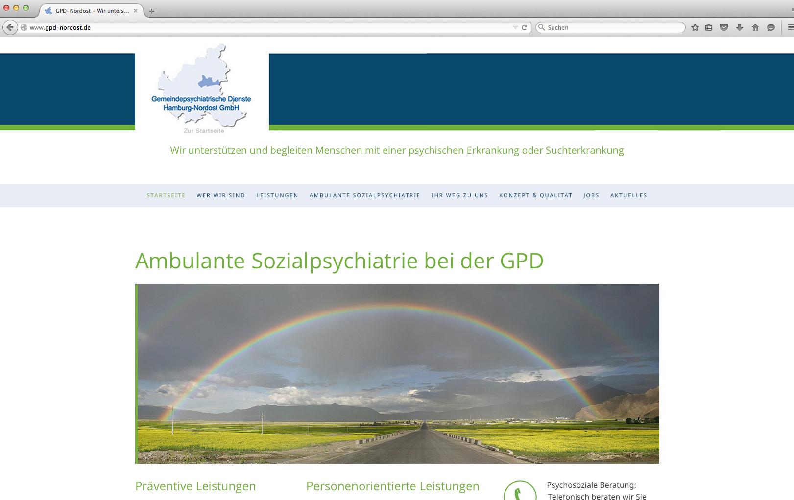 Unternehmens-Website Gemeindepsychiatrische Dienste Hamburg-Nordost GmbH