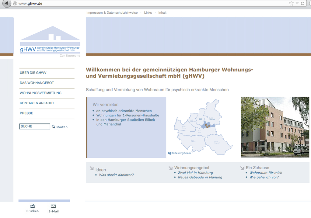 Unternehmens-Website für gHWV GmbH