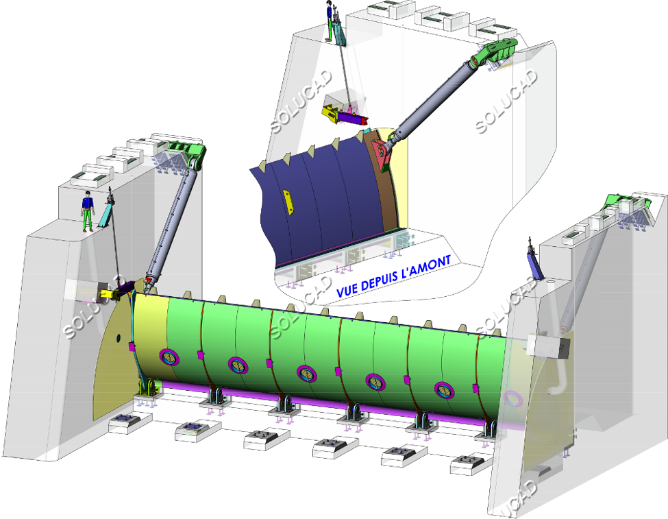 Clapet de régulation 20 x 4 mètres - CAO 3D