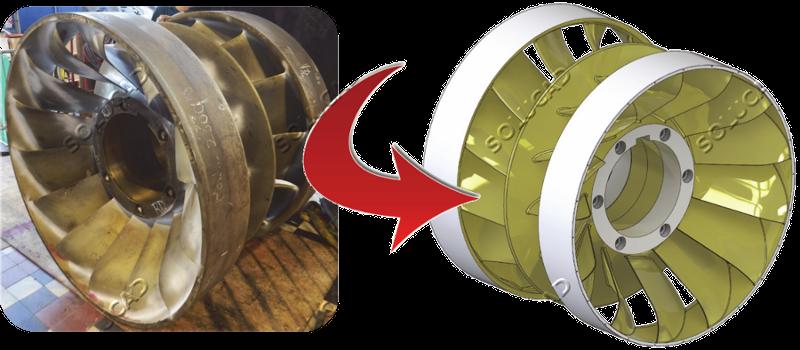 Scan 3D, post-traitement et modélisation roue Francis double