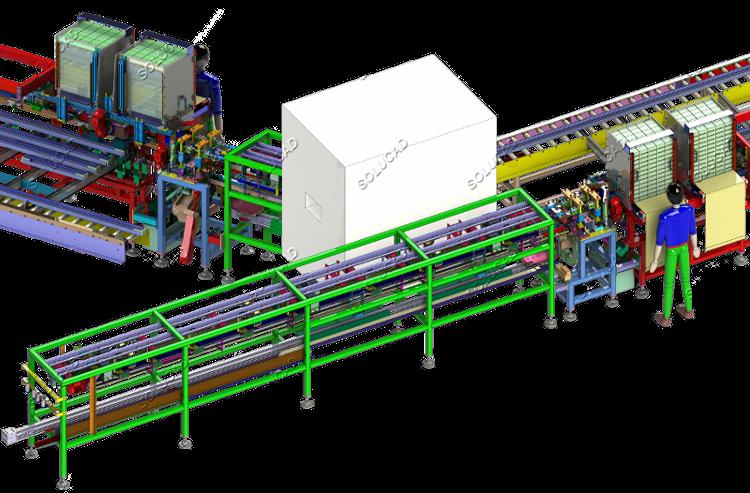 Machine découpe - emballage rails portes coulissantes