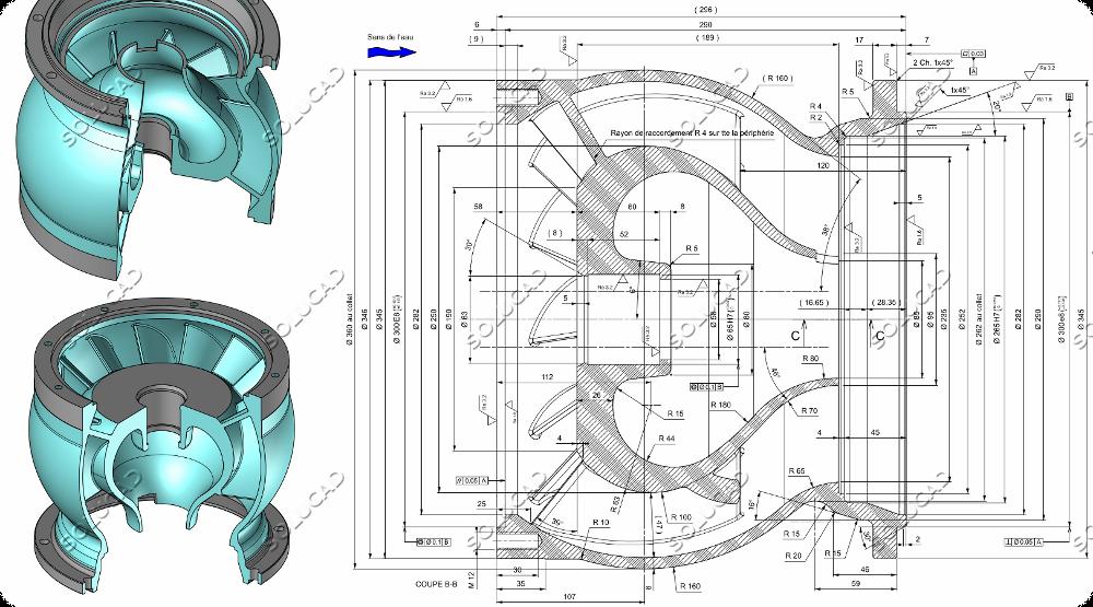 Scan 3D, modélisation et plan corps de pompe