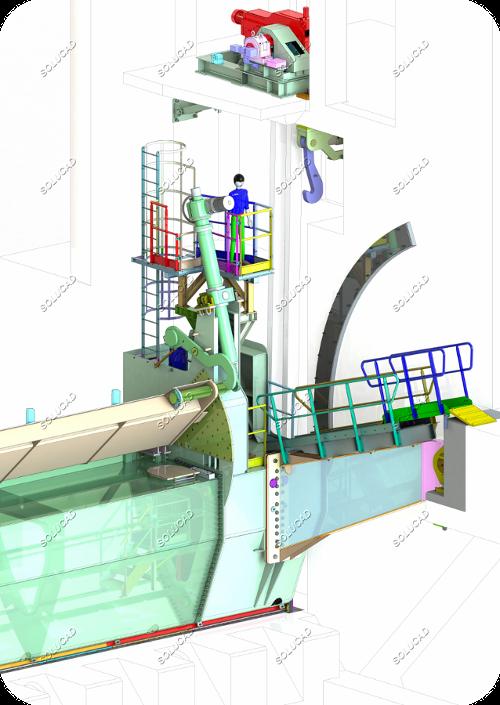 Vanne secteur à clapet de surverse - CAO 3D