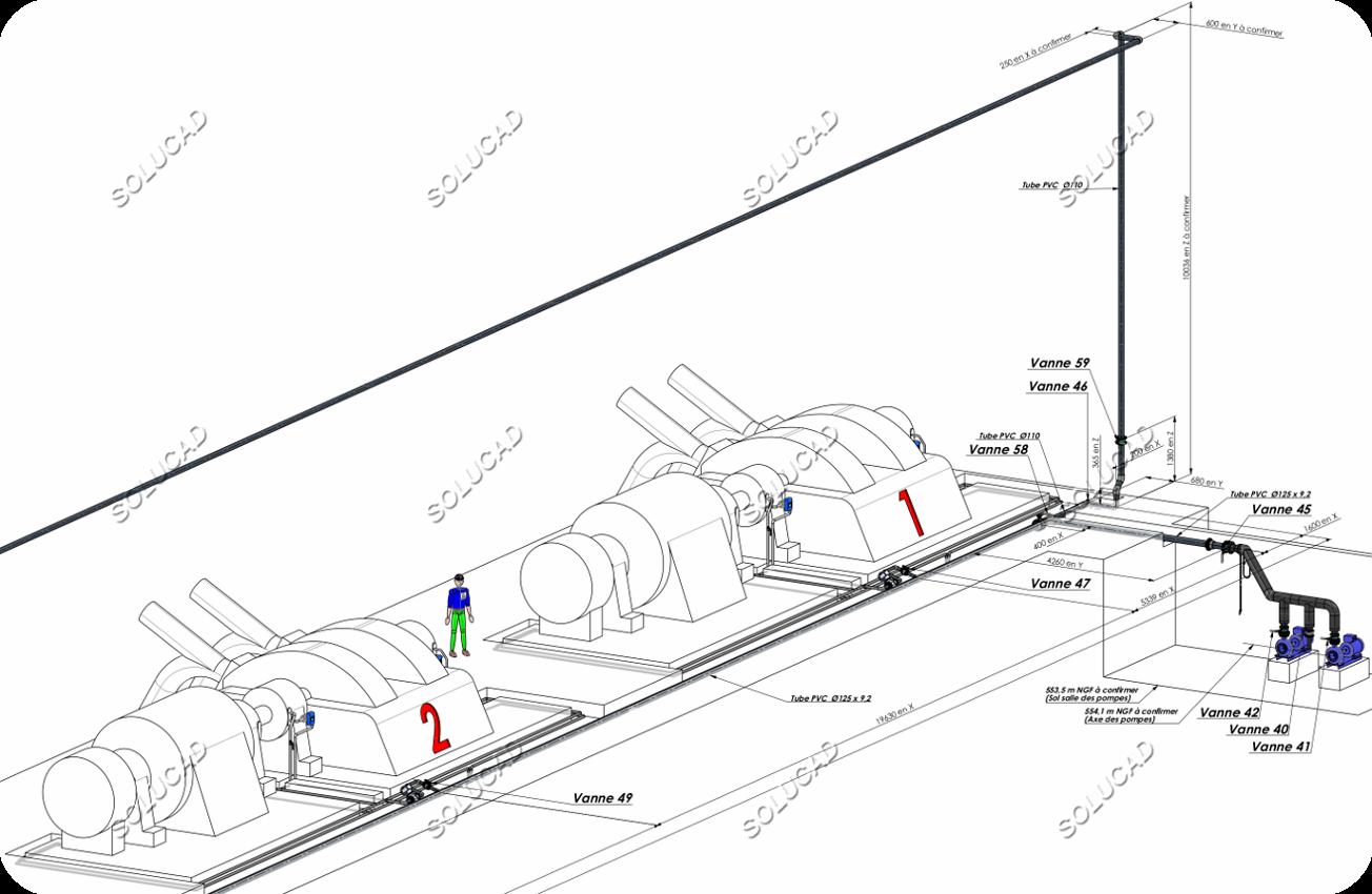 Circuit de réfrigération paliers turbine - Isométrie 3D