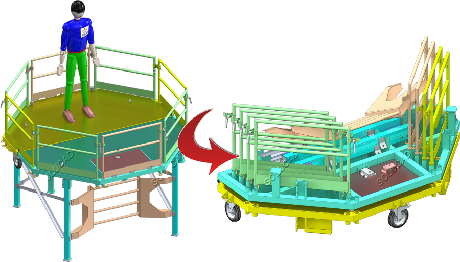 Plateforme démontage turbine hydroélectrique