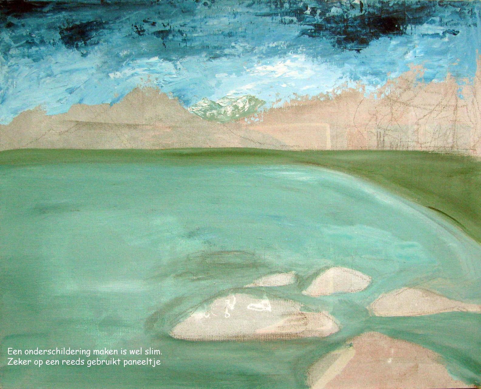 Landschap met acrylverf en paletmes