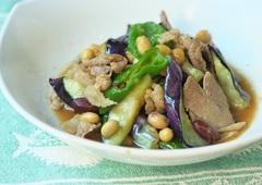 大豆となすのピリ辛炒め完成