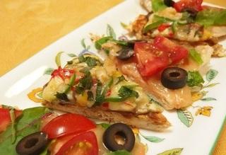 ピザ2種類盛り付け