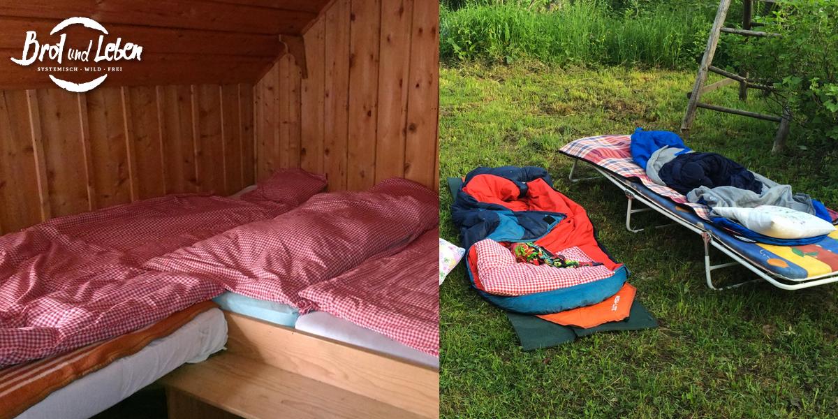 Hütte und Schlafsack