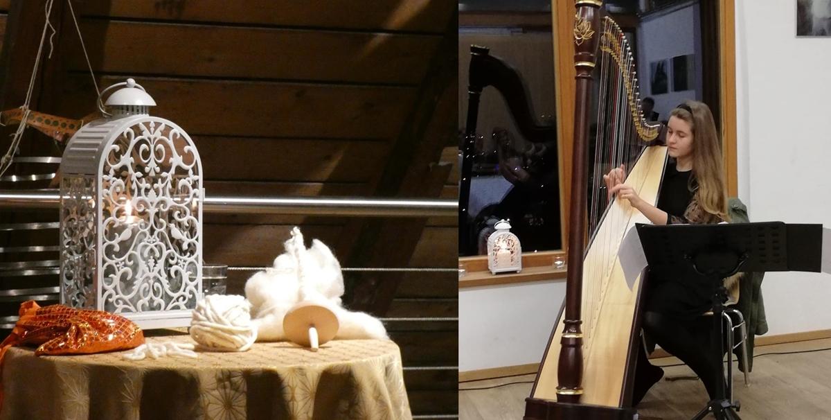 Natalie Folzwinkler an der Harfe