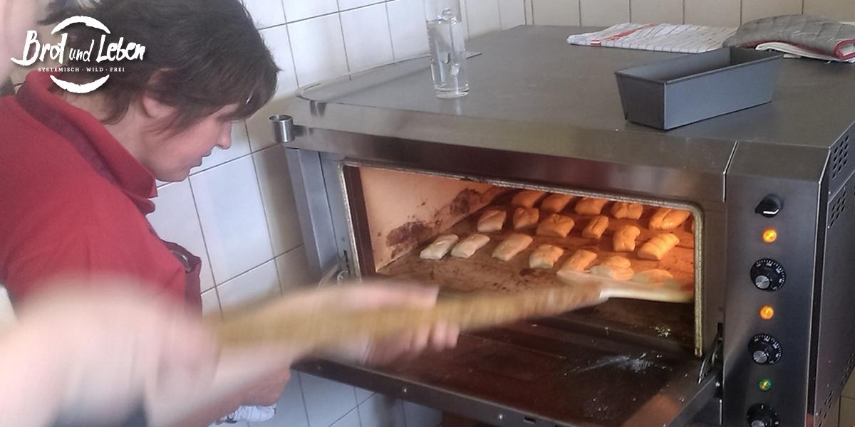Italienische Frühstücksweckerl aus dem Ofen holen