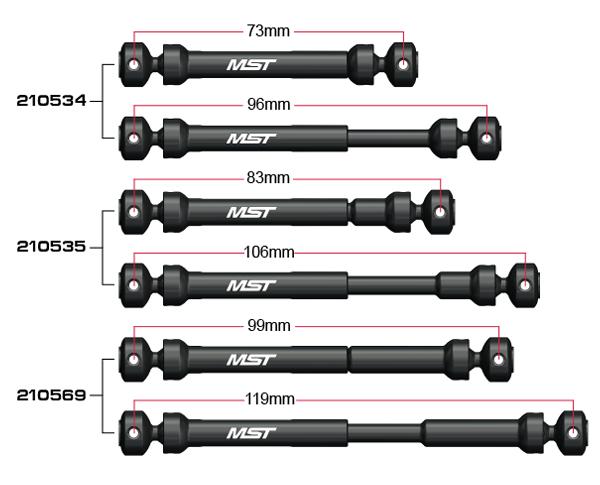 MST CFX-W Steel drive shaft, drei verschiedene Längen