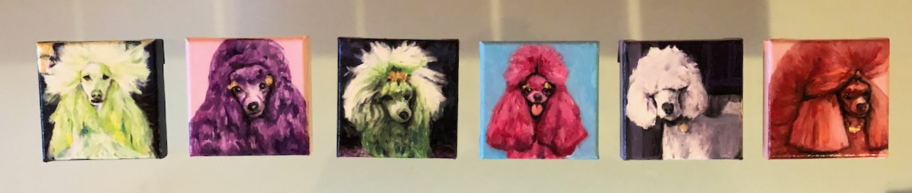 'Poodles I tm VI' oil on canvas, 10x10cm
