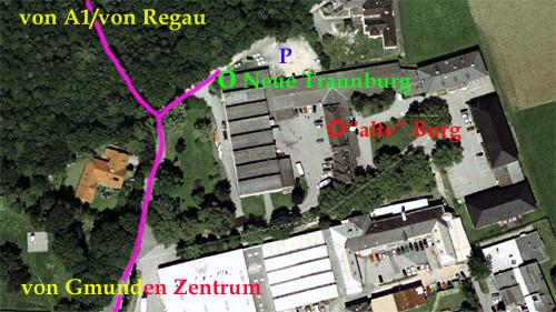 """Nur einen Steinwurf von der alten Burg entfernt, liegt die Burgpforte zur """"Neuen"""" Traunburg."""