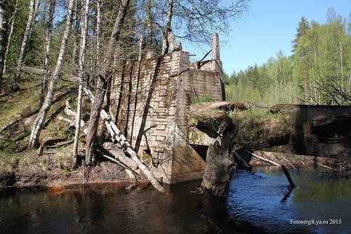 Сохранившиеся до наших дней фермы плотины на р. Перовка /Perojoki/