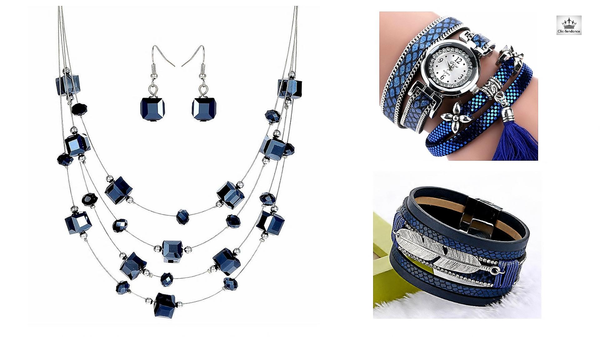 Ensemble de bijoux Bleu Intense et Argent