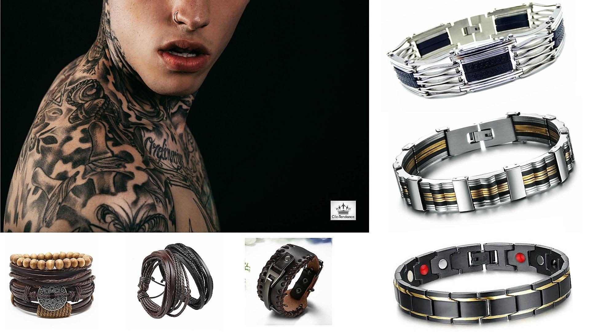 gourmette homme acier inox et bracelet cuir noir