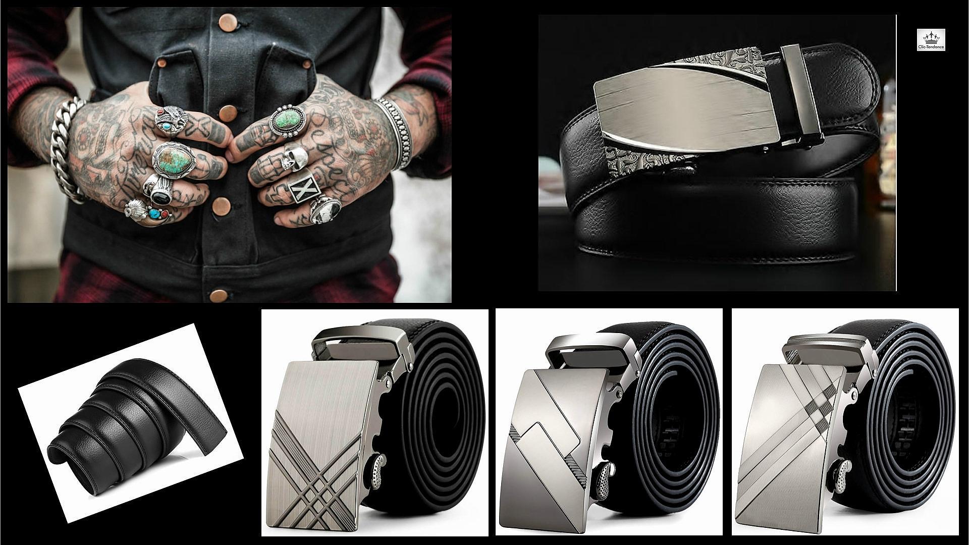 ceinture cuir tendance - boucle en metal gravé - accessoire de mode pour lui