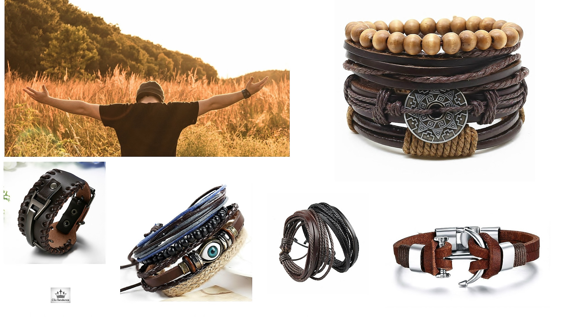Bracelet Cuir mec - cuir de vachette tréssé pour style biker - punk ou bracelet de force
