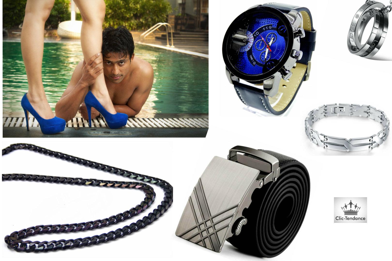 Collection homme montre bijoux et accessoires de mode tendance