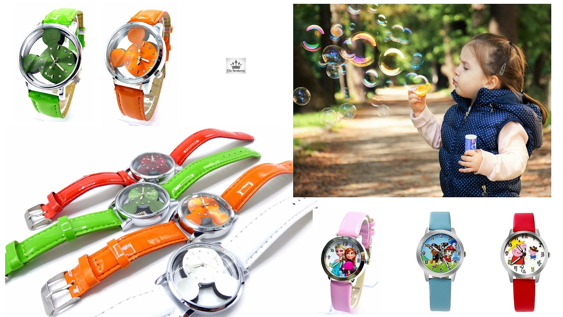 montre enfant fun et colorée avec les personnages préférés reine des neiges - spiderman - mickey