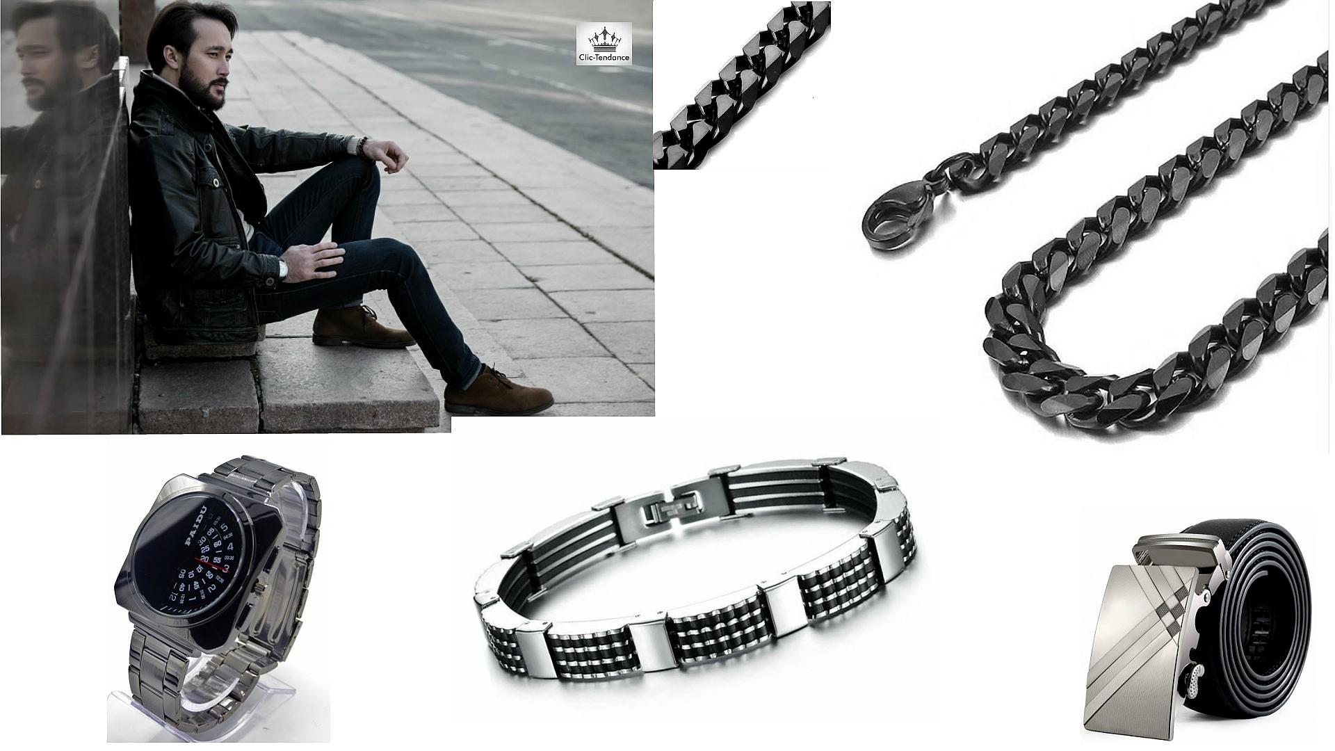 Accessoires de Mode au masculin Bijou Acier Tendance Noir et ceinture cuir
