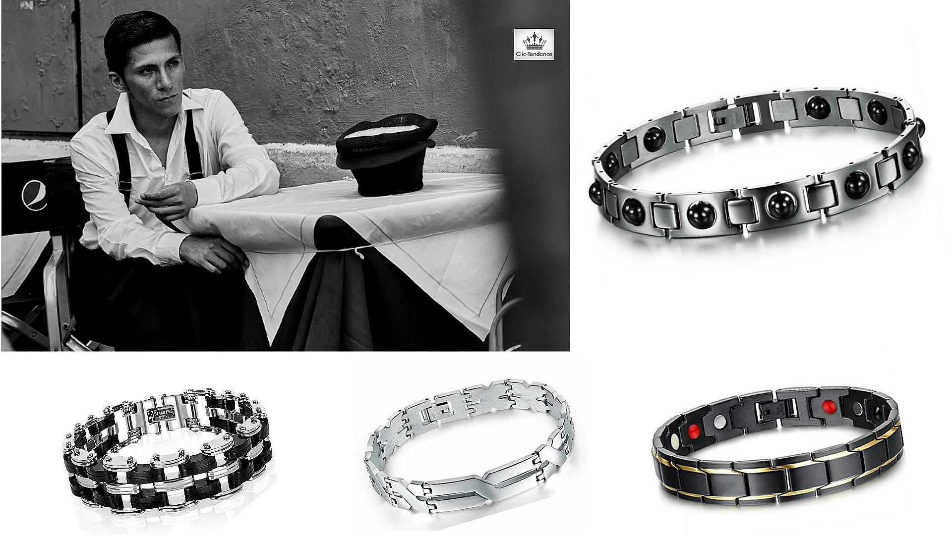 gourmette acier inox homme et bracelet magnetique santé hematite