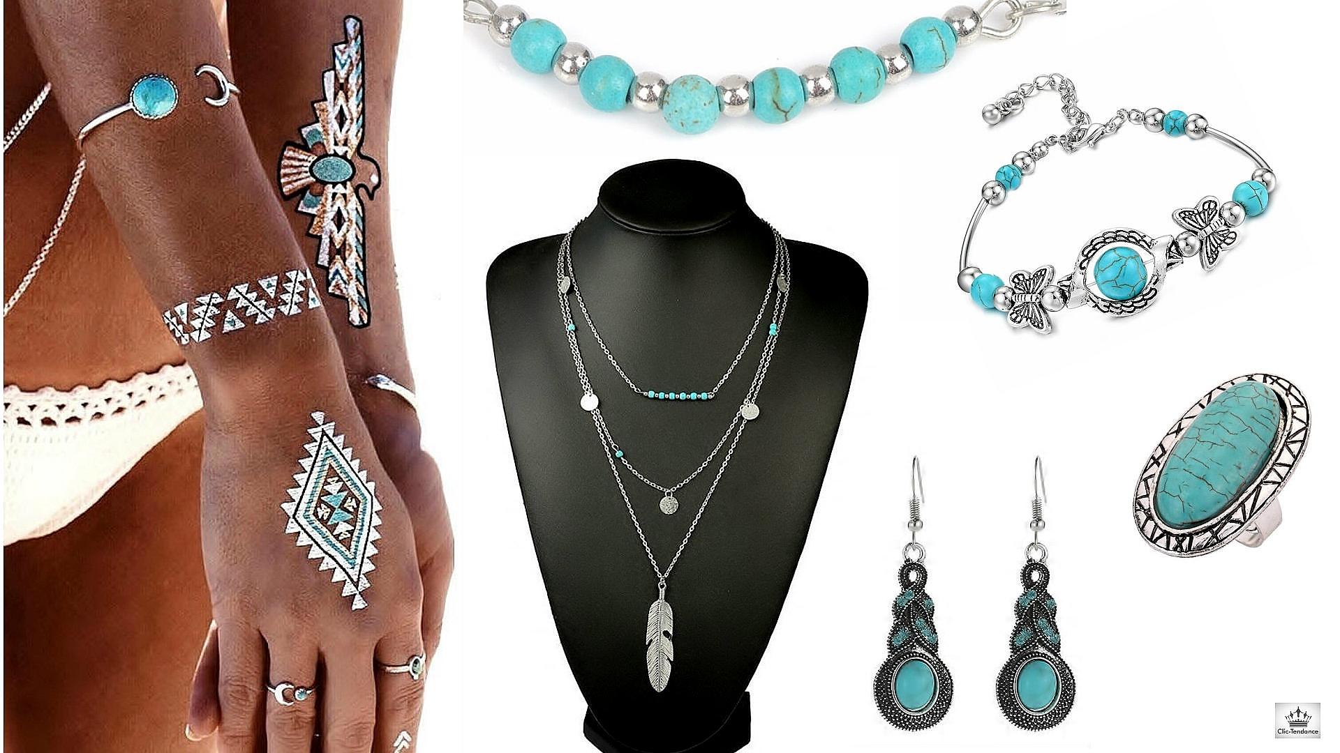 Bijoux Boheme turquoise fantaisie ethnique