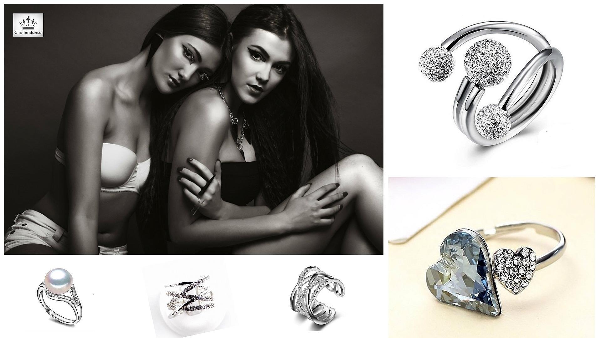 Bague ajustable anneau et solitaire femme