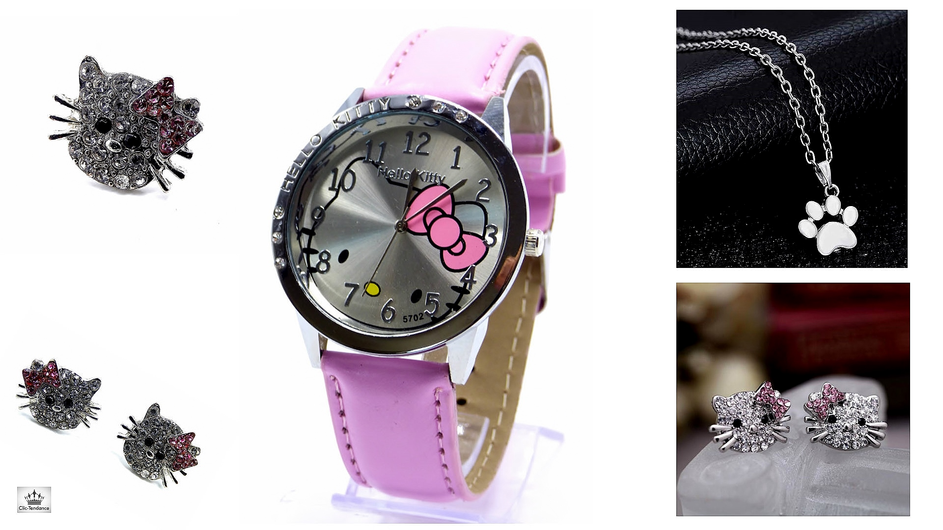 Box Bijoux Cristal et Aregent et Montre Hello Kitty Rose