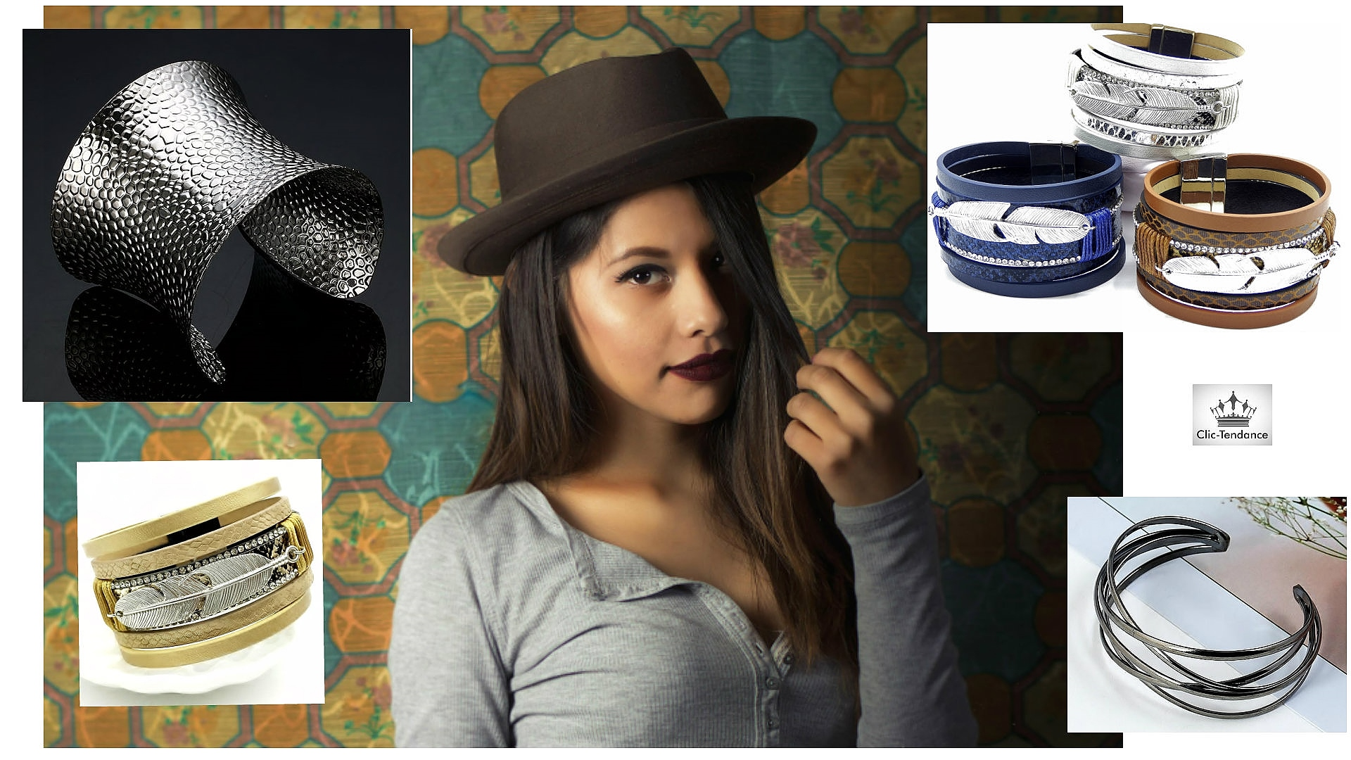Manchette femme - un Bracelet Glamour et fantaisie metal - Multirang cuir